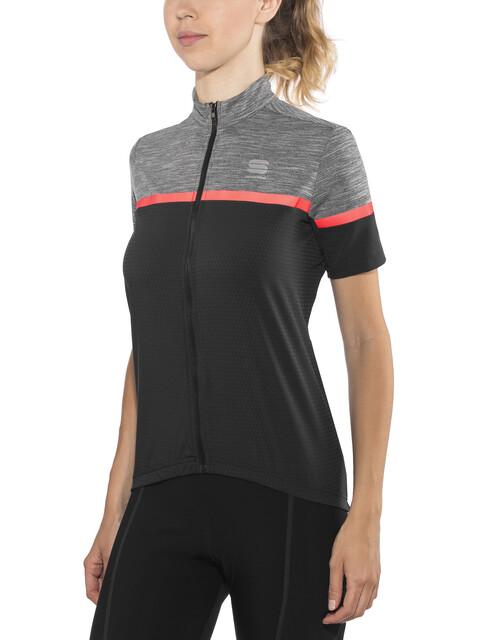 Sportful Giara Jersey Women black/anthracite melange/coral fluo